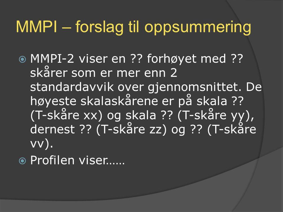 MMPI – forslag til oppsummering