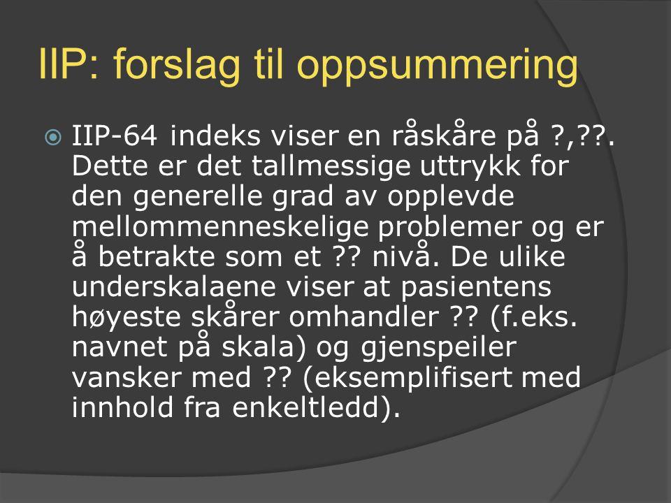 IIP: forslag til oppsummering