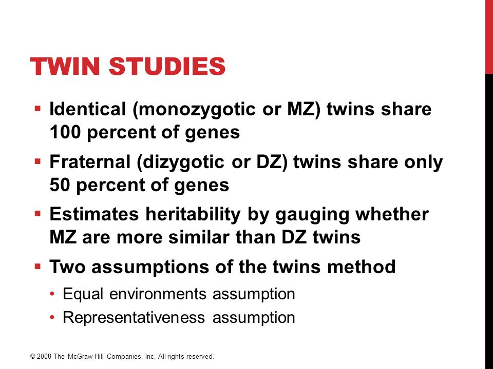 Twin Studies Identical (monozygotic or MZ) twins share 100 percent of genes. Fraternal (dizygotic or DZ) twins share only 50 percent of genes.