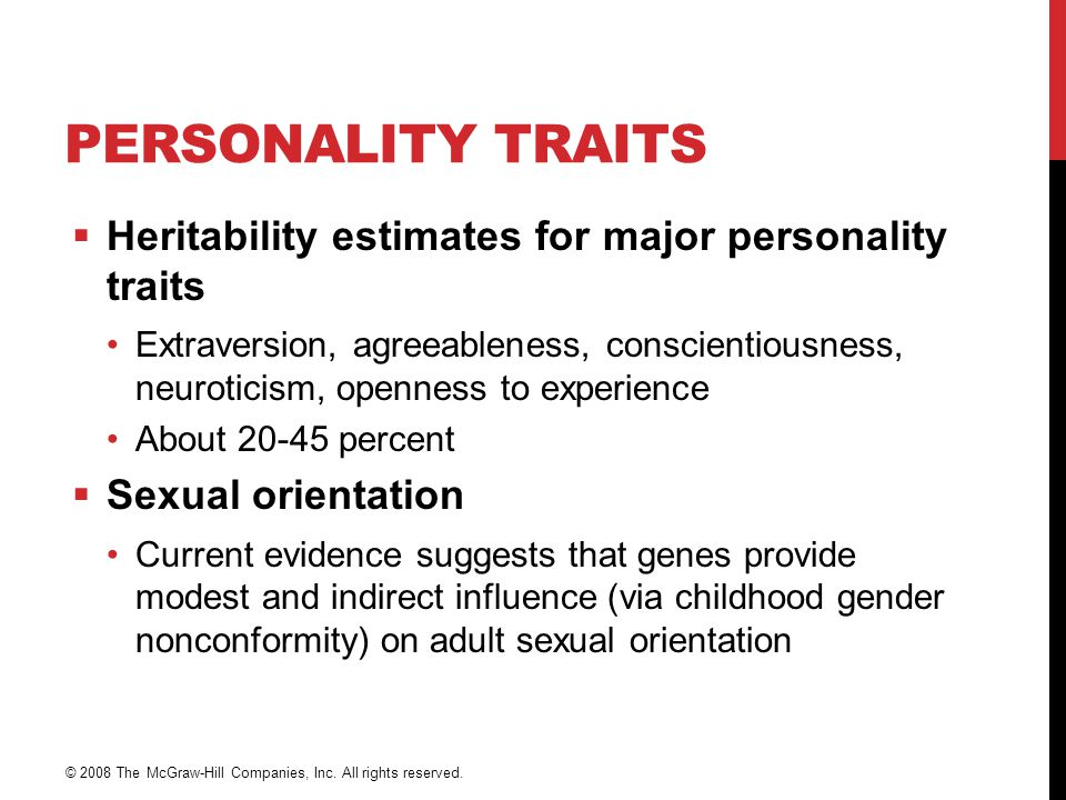 Personality Traits Heritability estimates for major personality traits