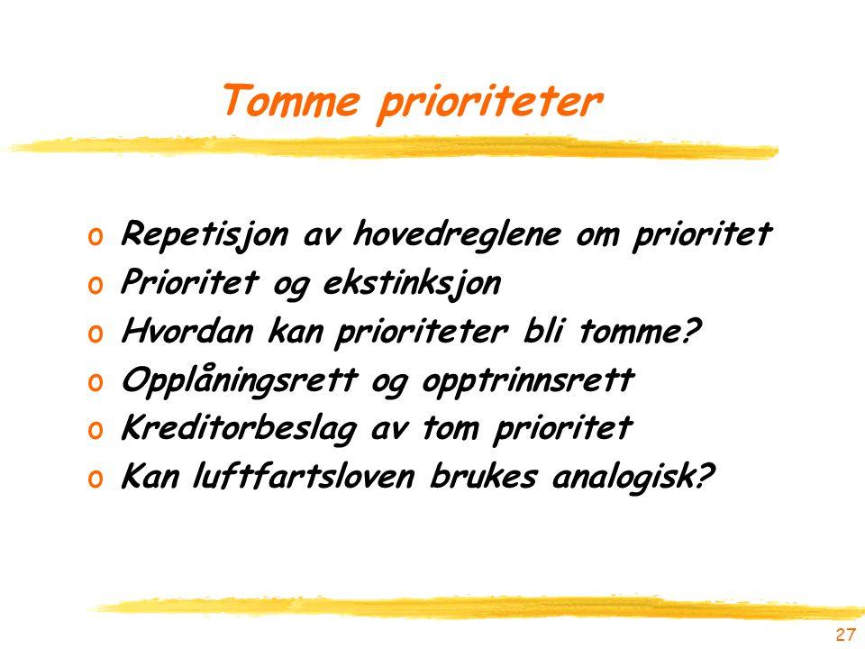 Tomme prioriteter Repetisjon av hovedreglene om prioritet