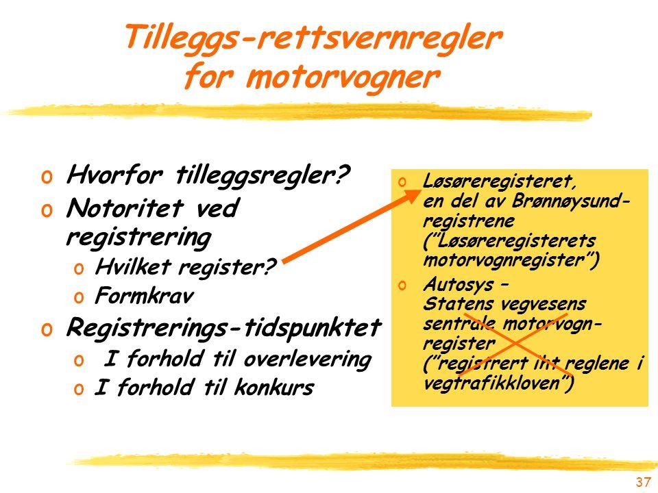 Tilleggs-rettsvernregler for motorvogner