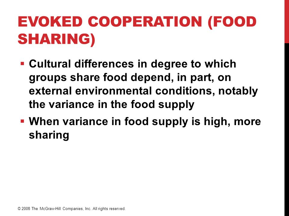 Evoked Cooperation (Food Sharing)