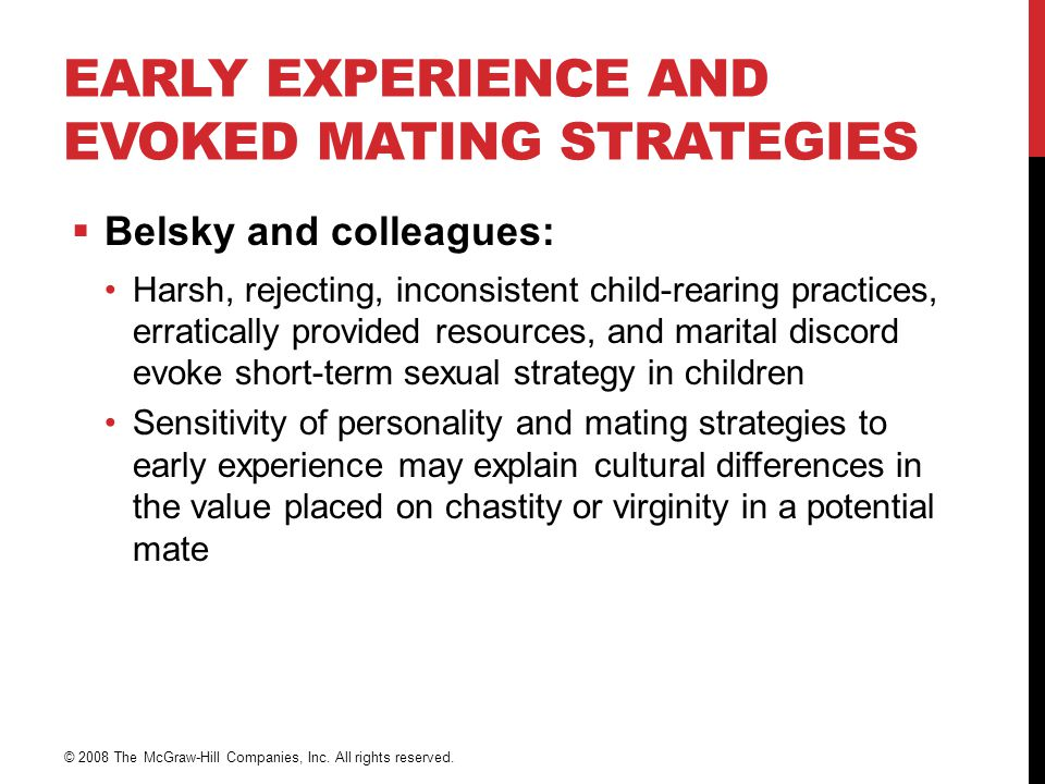 Early Experience and Evoked Mating Strategies