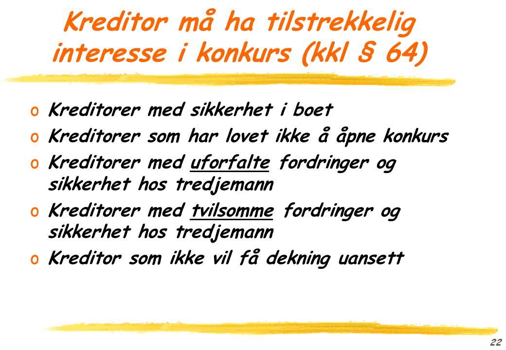 Kreditor må ha tilstrekkelig interesse i konkurs (kkl § 64)