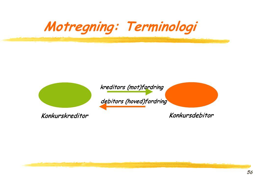 Motregning: Terminologi