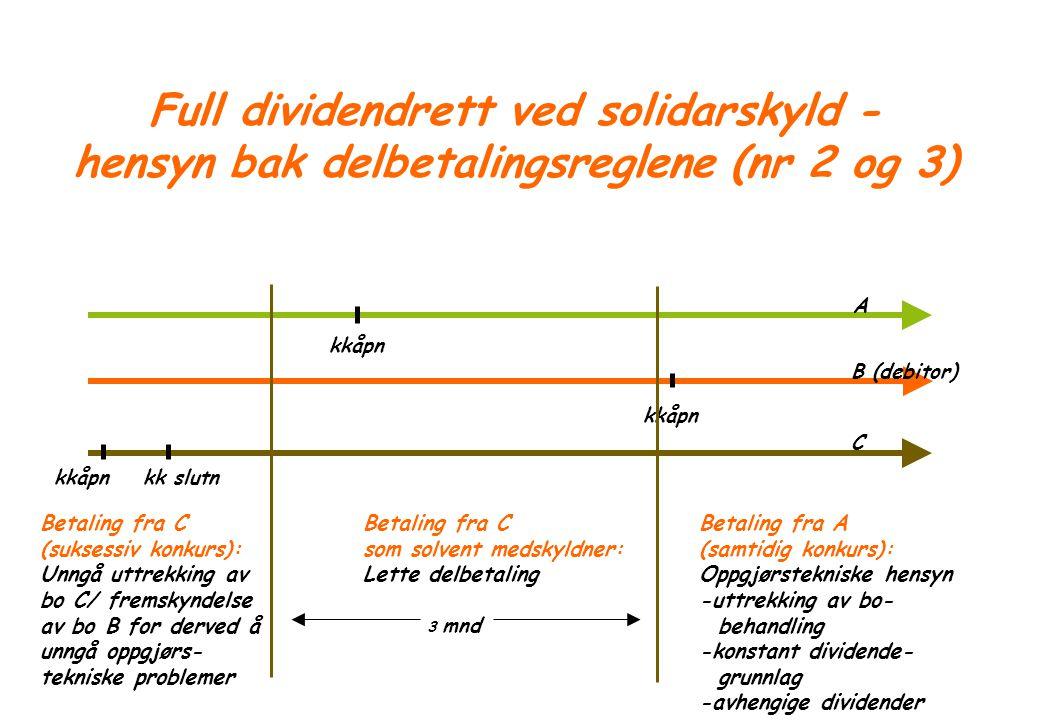 Full dividendrett ved solidarskyld - hensyn bak delbetalingsreglene (nr 2 og 3)