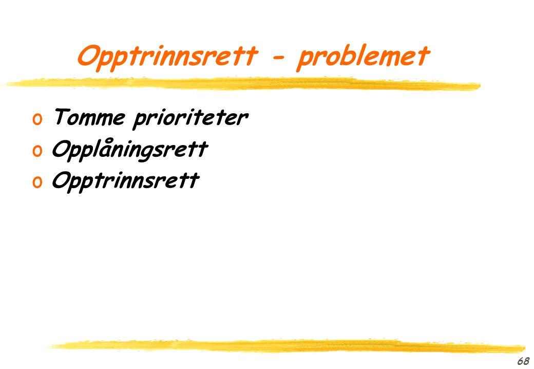 Opptrinnsrett - problemet