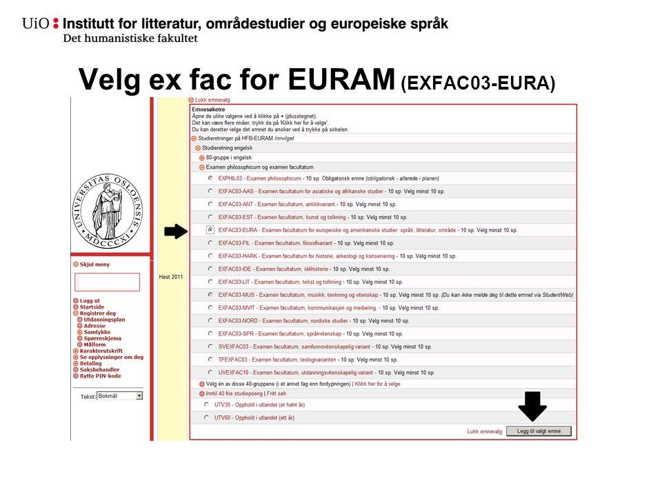 Velg ex fac for EURAM (EXFAC03-EURA)