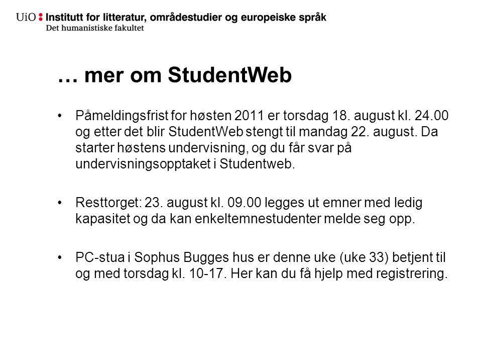 … mer om StudentWeb