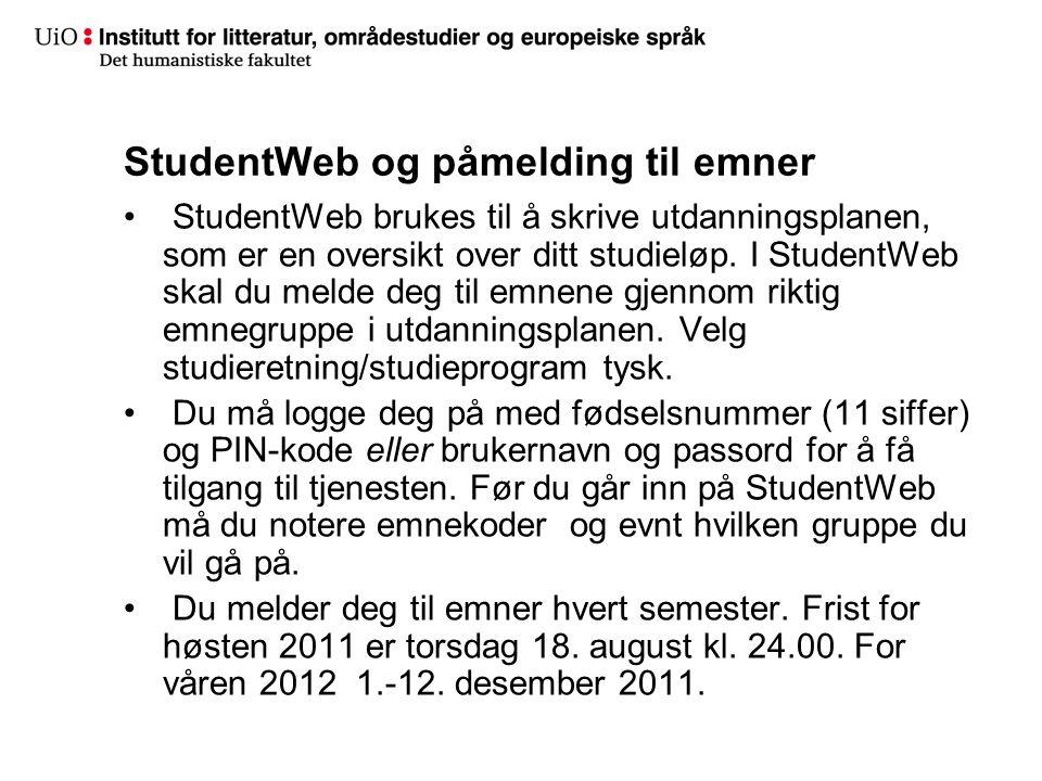 StudentWeb og påmelding til emner