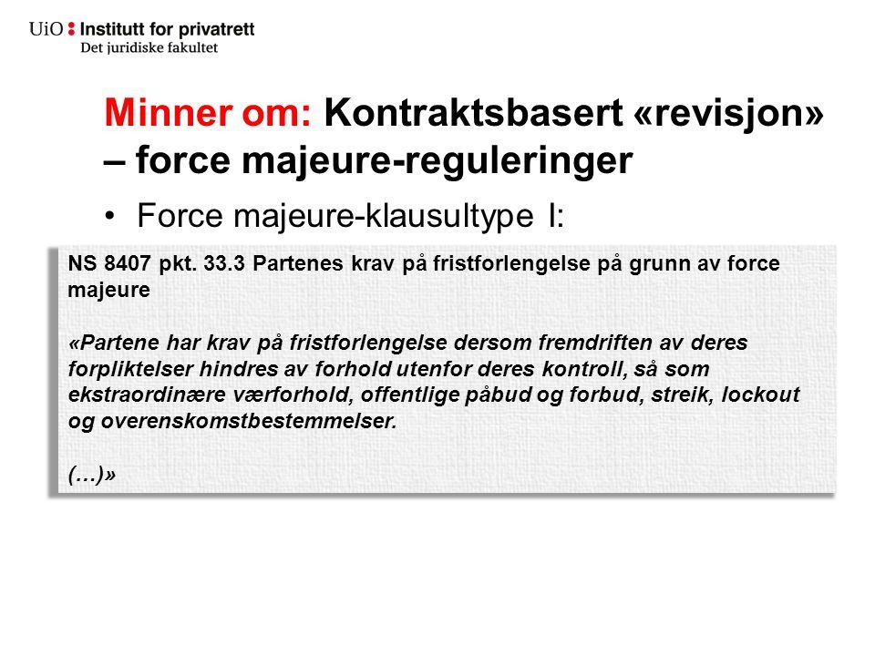 Minner om: Kontraktsbasert «revisjon» – force majeure-reguleringer