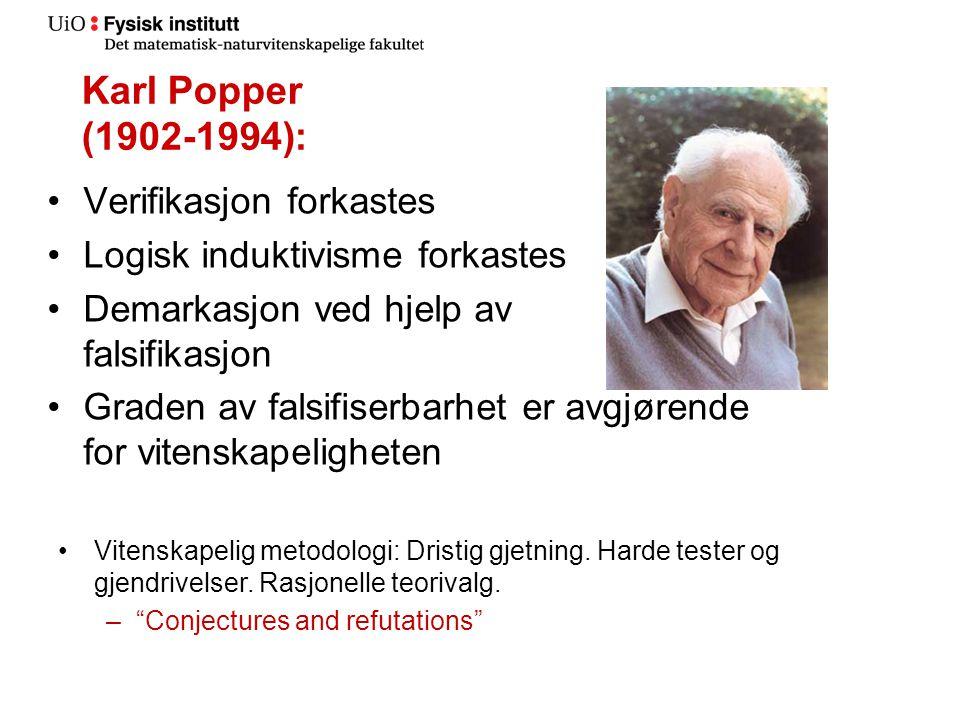 Karl Popper (1902-1994): Verifikasjon forkastes