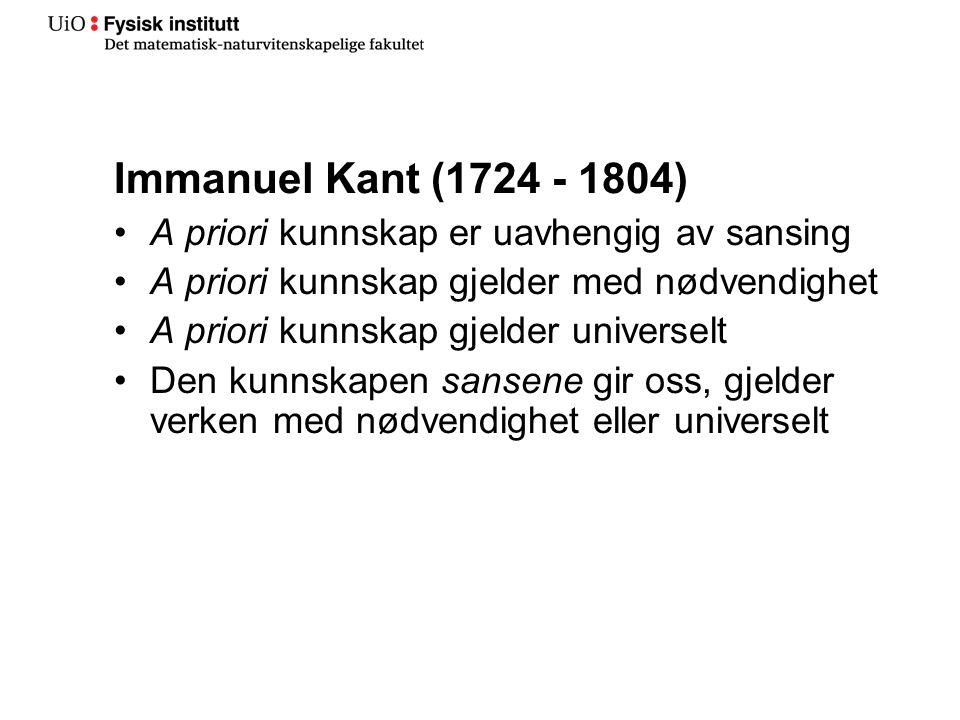 Immanuel Kant (1724 - 1804) A priori kunnskap er uavhengig av sansing