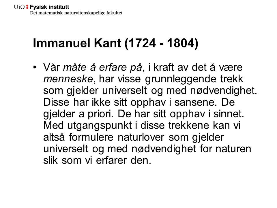 Immanuel Kant (1724 - 1804)
