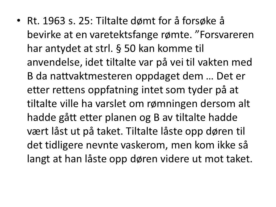Rt. 1963 s. 25: Tiltalte dømt for å forsøke å bevirke at en varetektsfange rømte.