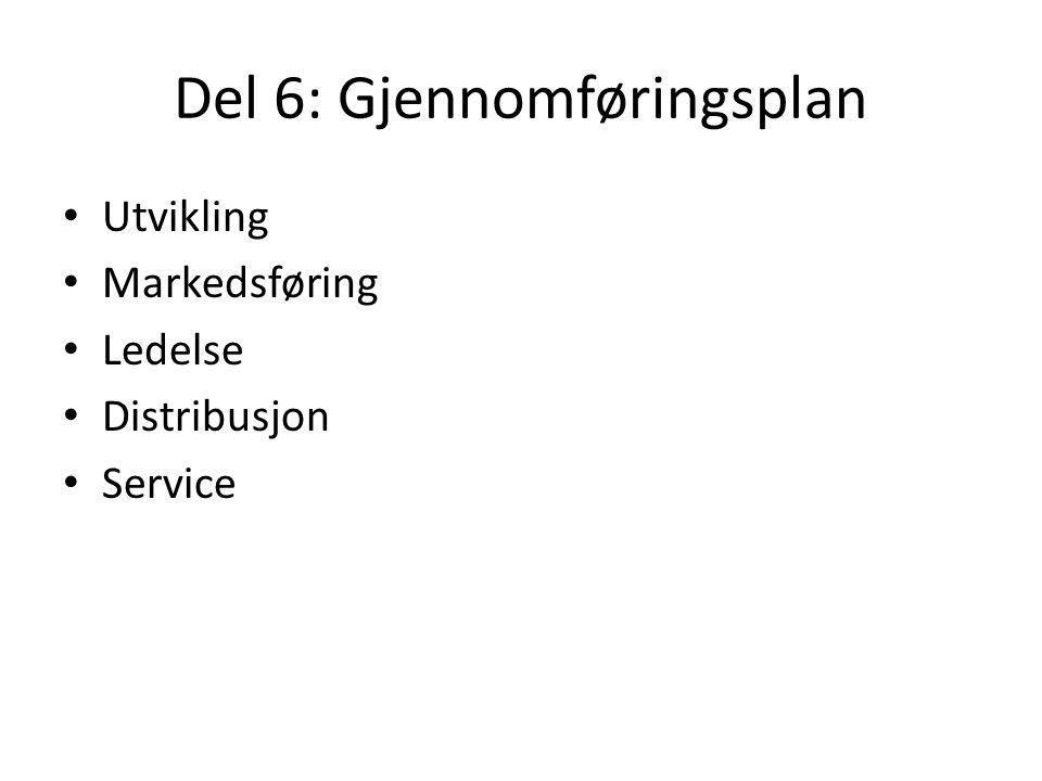 Del 6: Gjennomføringsplan