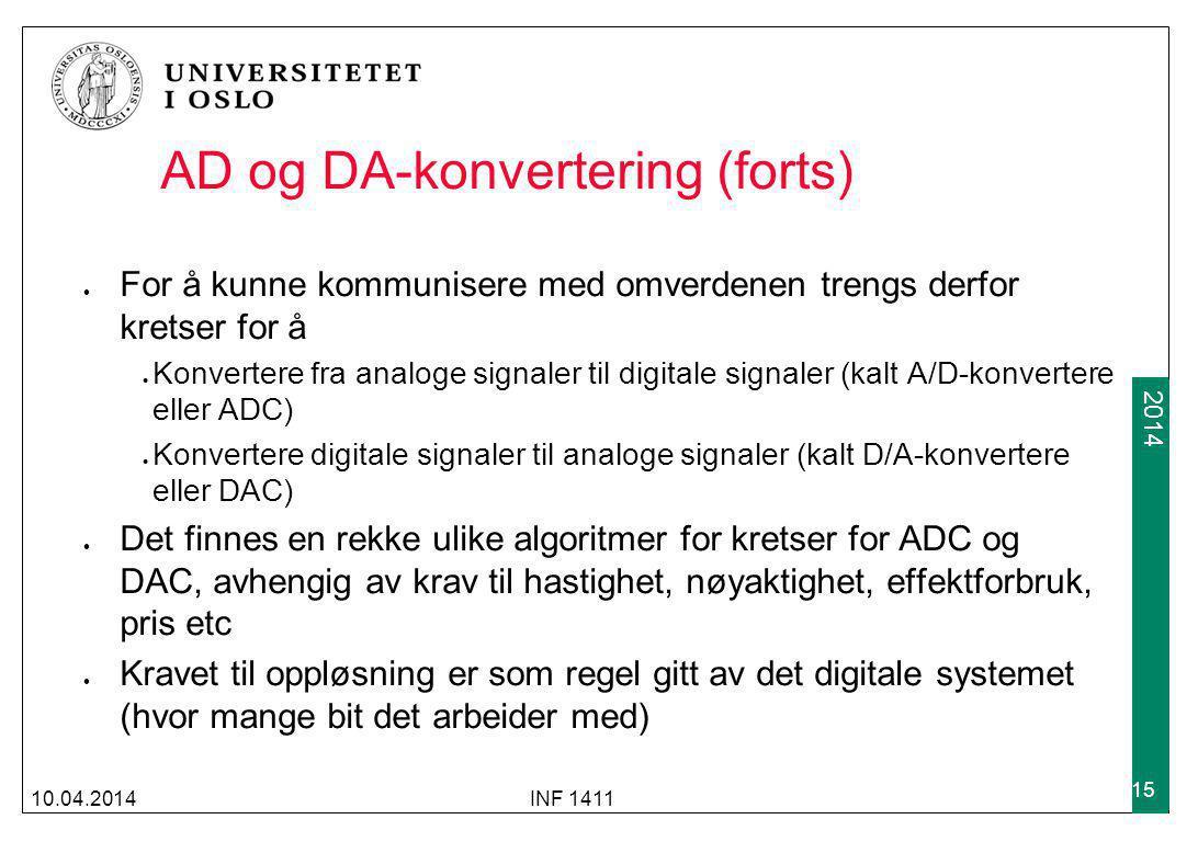 AD og DA-konvertering (forts)