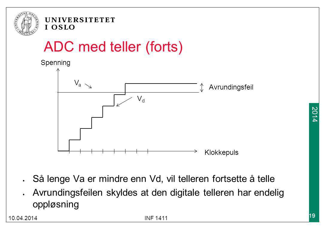 ADC med teller (forts) Spenning. Va. Avrundingsfeil. Vd. Klokkepuls. Så lenge Va er mindre enn Vd, vil telleren fortsette å telle.
