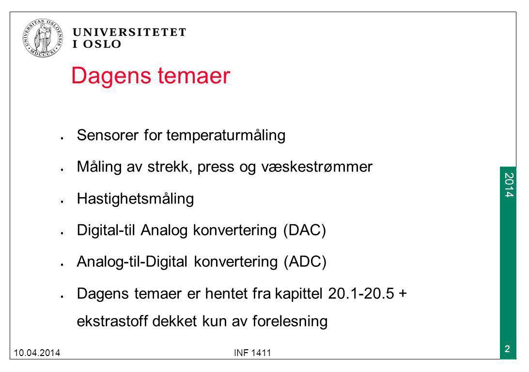 Dagens temaer Sensorer for temperaturmåling