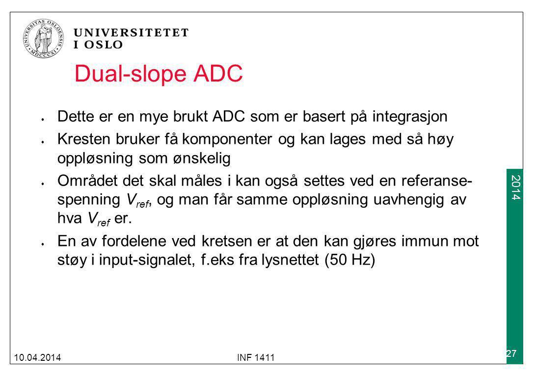 Dual-slope ADC Dette er en mye brukt ADC som er basert på integrasjon