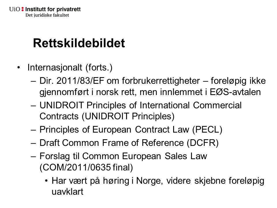 Rettskildebildet Internasjonalt (forts.)