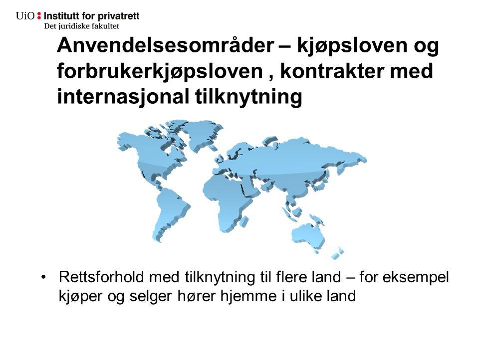 Anvendelsesområder – kjøpsloven og forbrukerkjøpsloven , kontrakter med internasjonal tilknytning