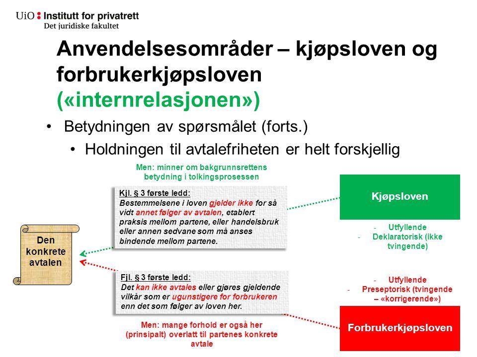 Anvendelsesområder – kjøpsloven og forbrukerkjøpsloven («internrelasjonen»)