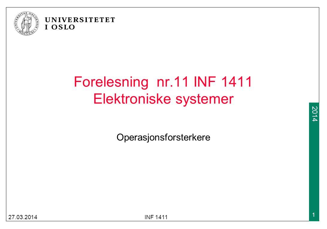 Forelesning nr.11 INF 1411 Elektroniske systemer