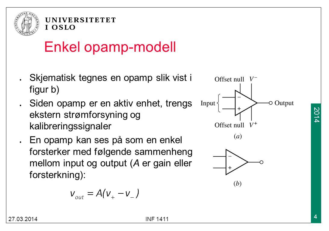 Enkel opamp-modell Skjematisk tegnes en opamp slik vist i figur b)