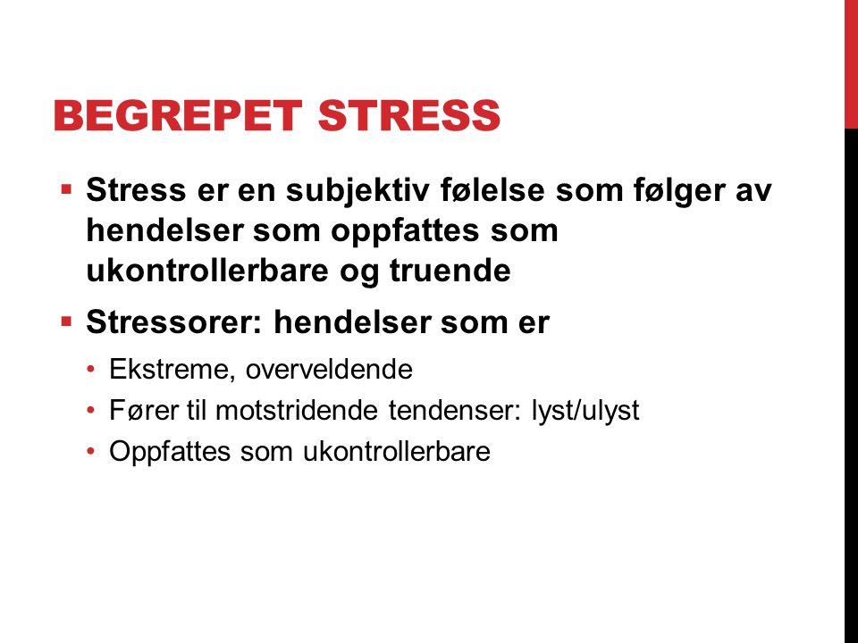 Begrepet stress Stress er en subjektiv følelse som følger av hendelser som oppfattes som ukontrollerbare og truende.
