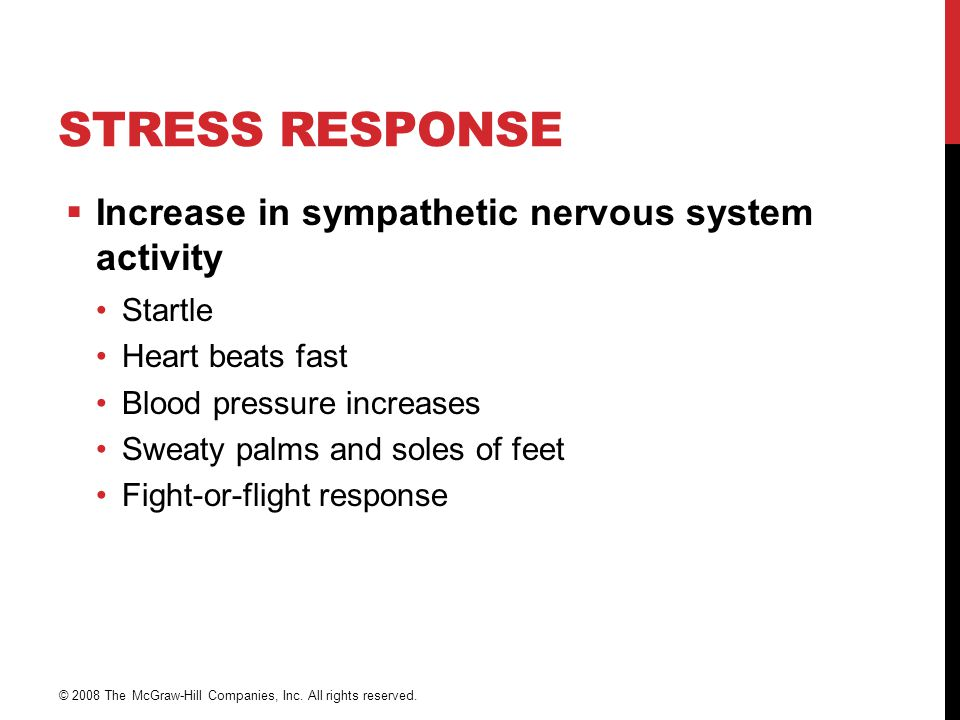 Stress Response Increase in sympathetic nervous system activity