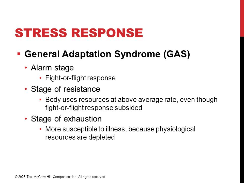 Stress Response General Adaptation Syndrome (GAS) Alarm stage