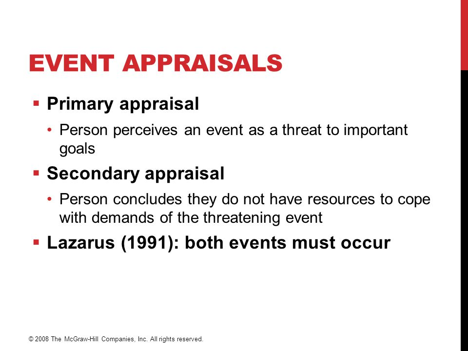 Event Appraisals Primary appraisal Secondary appraisal
