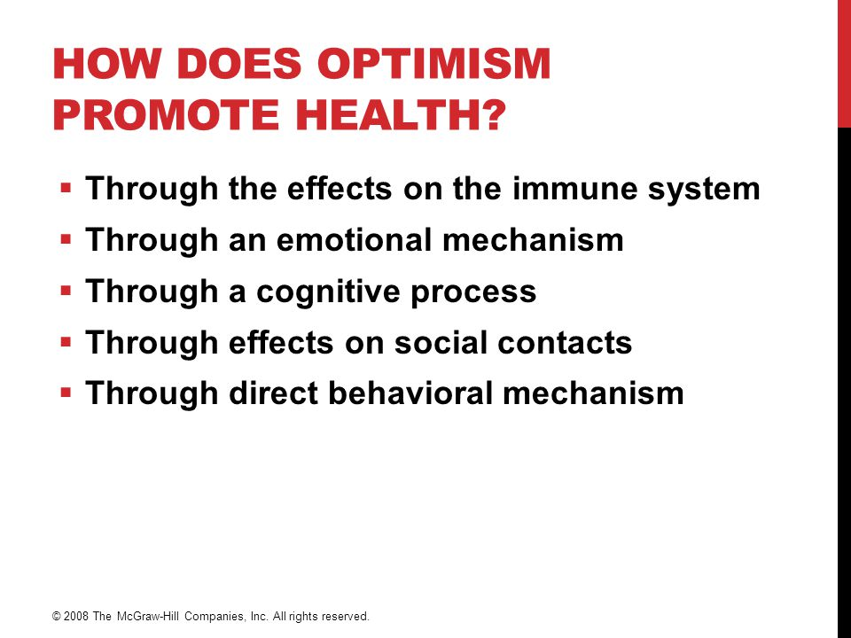 How Does Optimism Promote Health