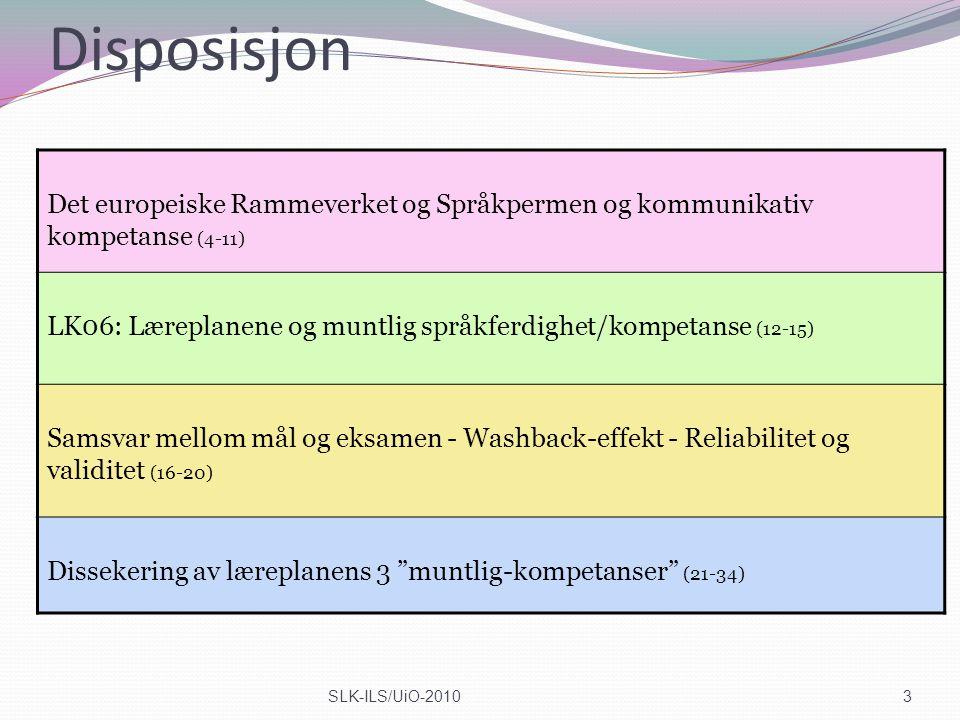 Disposisjon Det europeiske Rammeverket og Språkpermen og kommunikativ kompetanse (4-11)