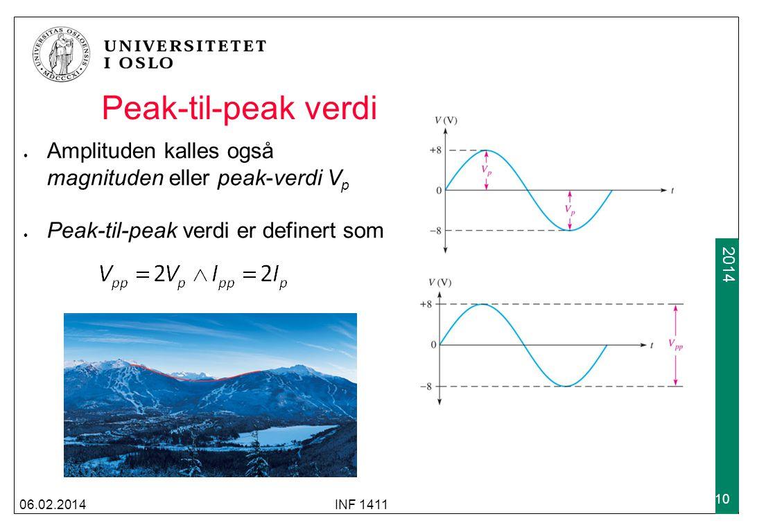 Peak-til-peak verdi Amplituden kalles også magnituden eller peak-verdi Vp. Peak-til-peak verdi er definert som.