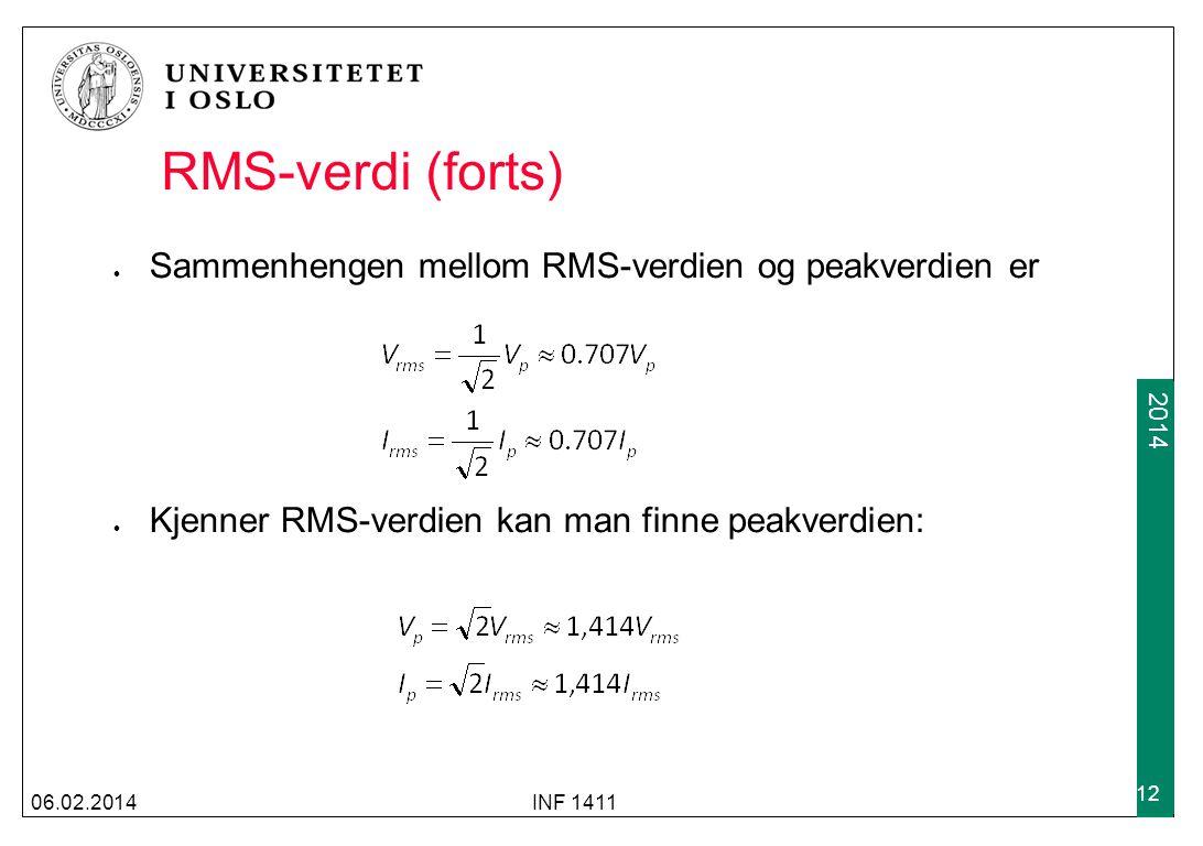 RMS-verdi (forts) Sammenhengen mellom RMS-verdien og peakverdien er