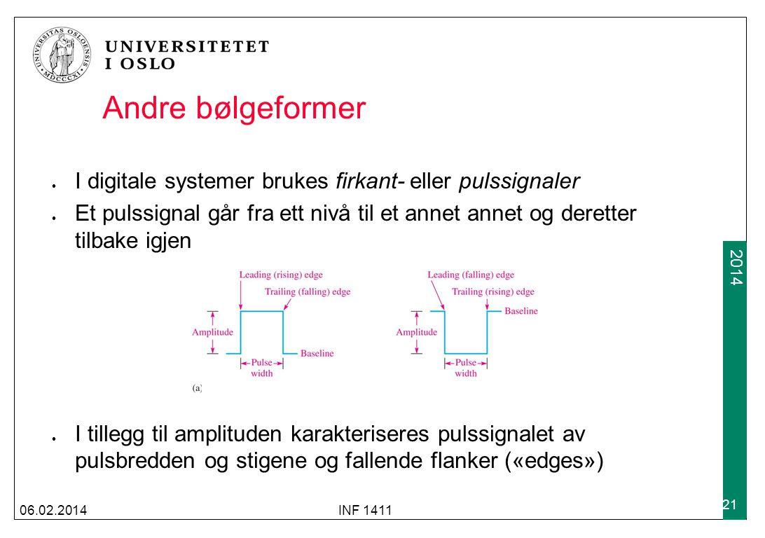 Andre bølgeformer I digitale systemer brukes firkant- eller pulssignaler.