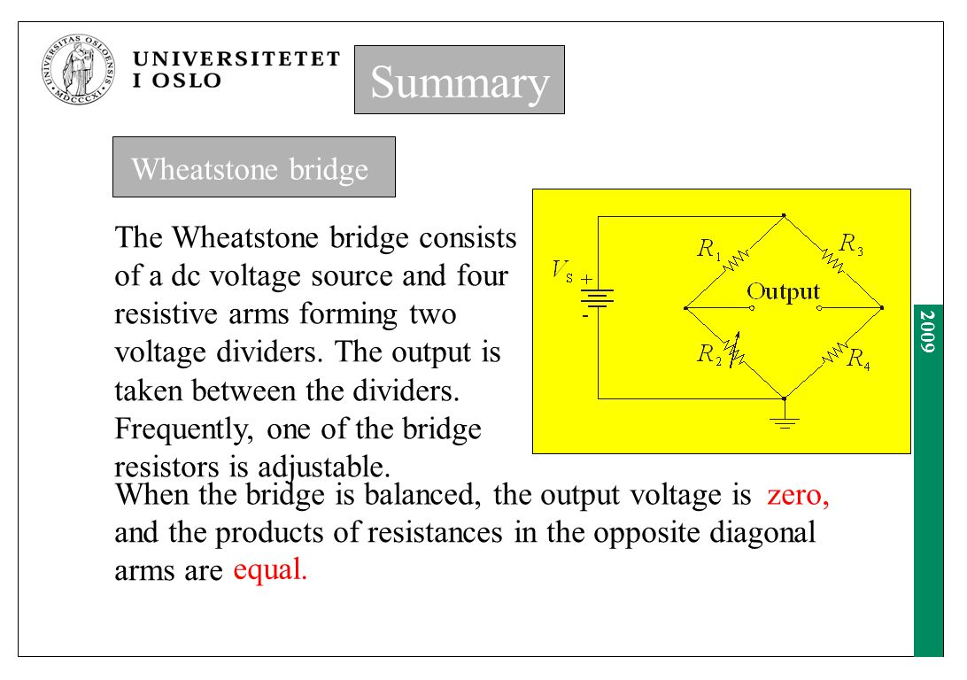 Summary Summary Wheatstone bridge