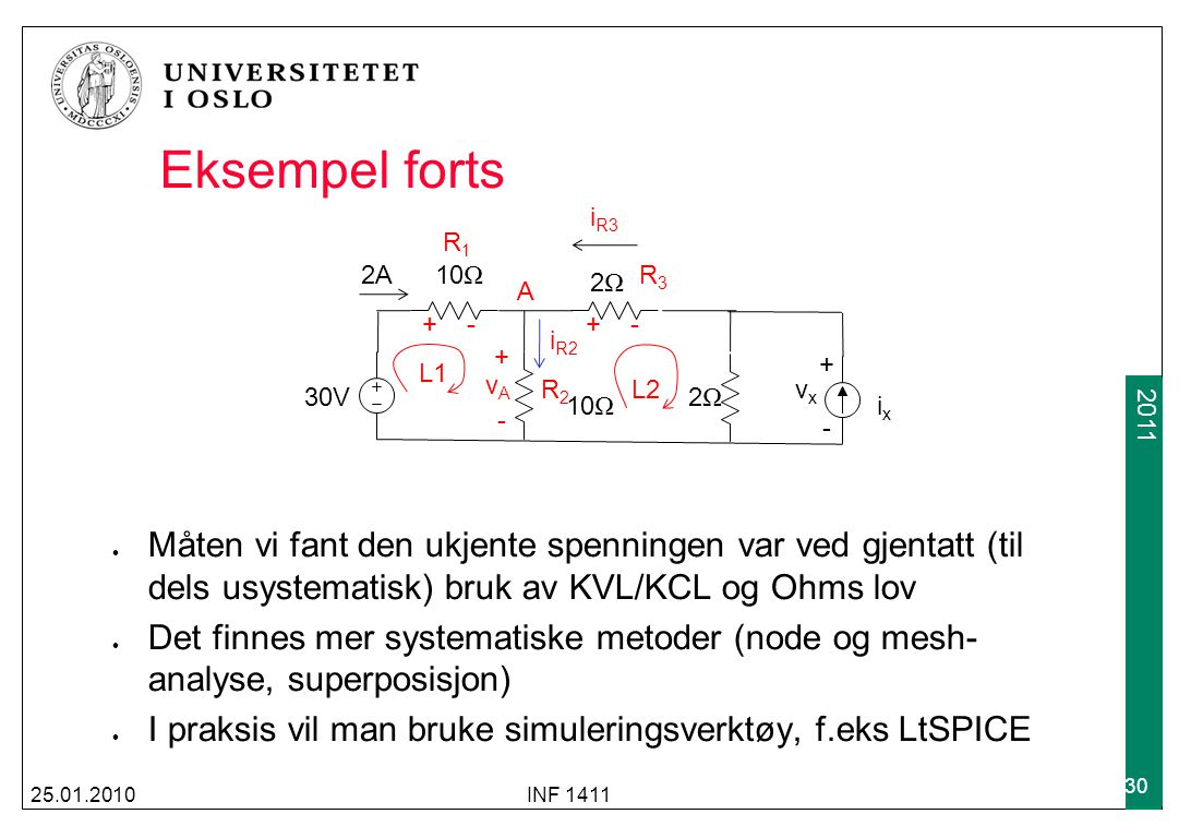 Eksempel forts 30V. 2A. 10Ω. 2Ω. ix. vx. + - L1. L2. A. vA. + - R1. iR2. R2. iR3.