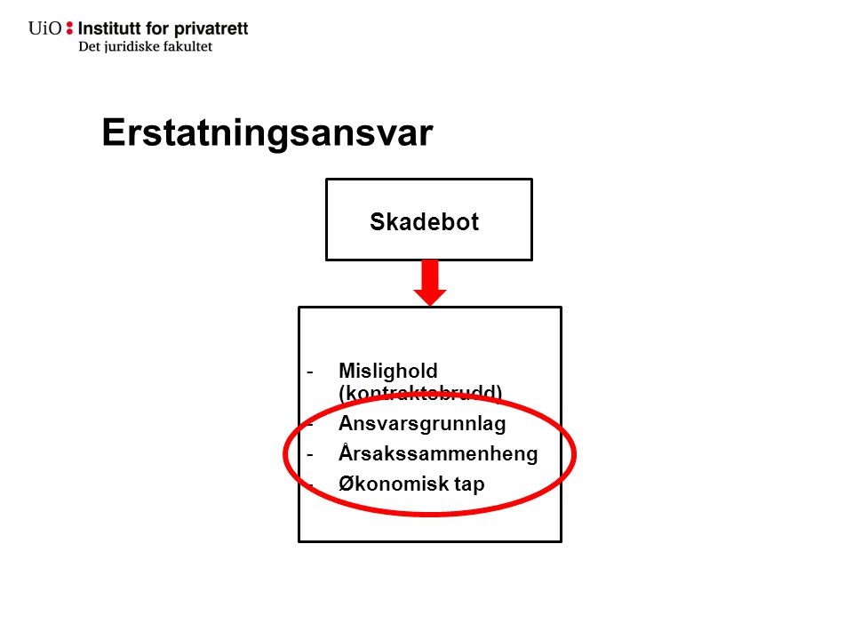 Erstatningsansvar Skadebot Mislighold (kontraktsbrudd) Ansvarsgrunnlag