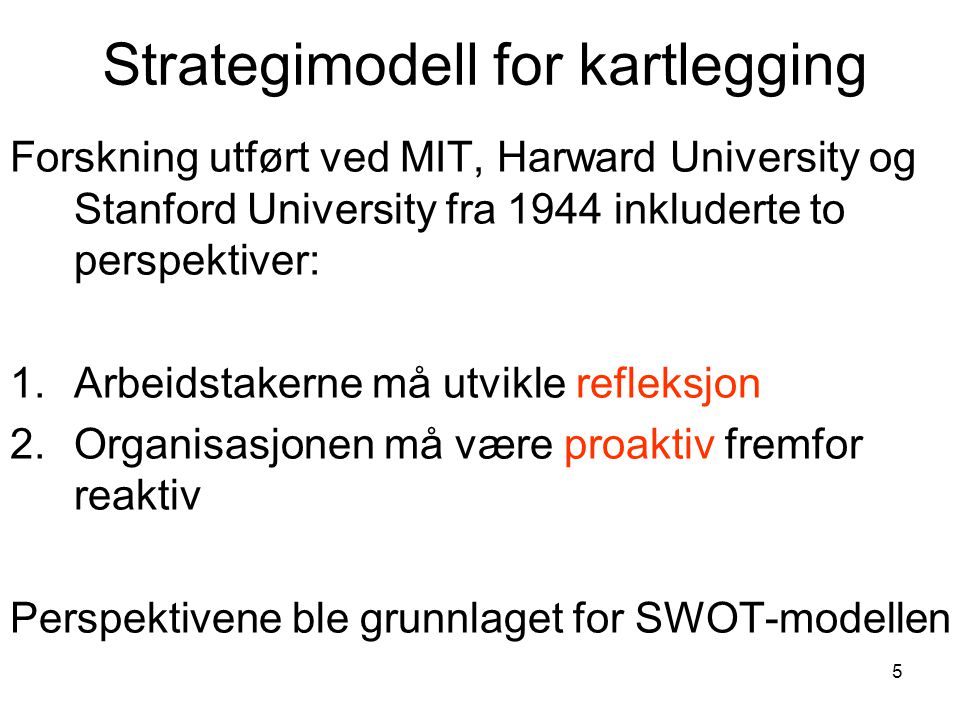 Strategimodell for kartlegging