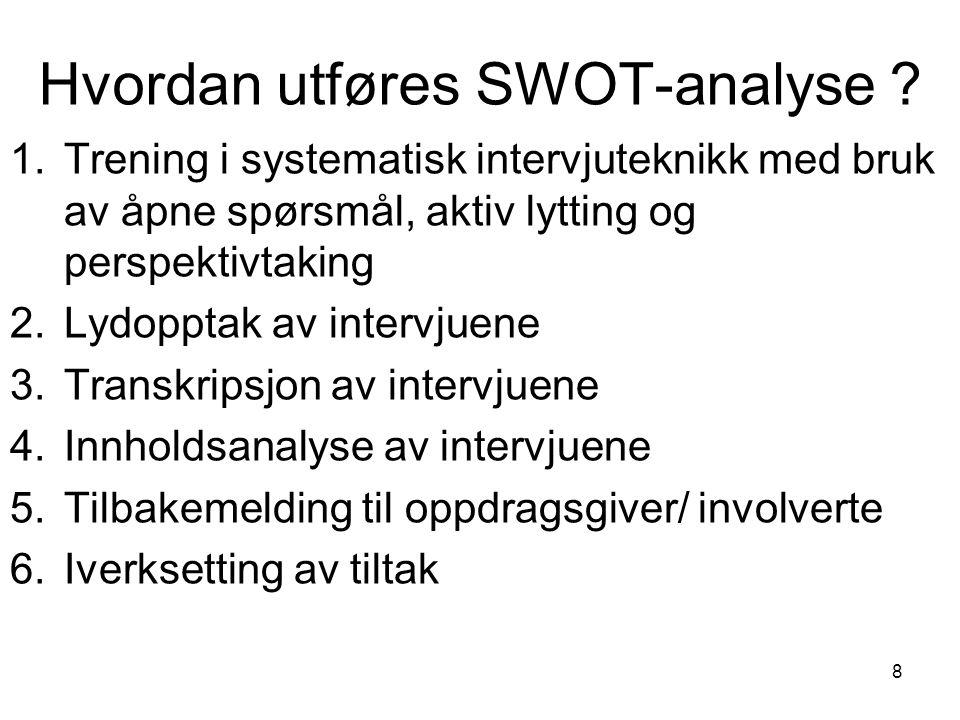 Hvordan utføres SWOT-analyse