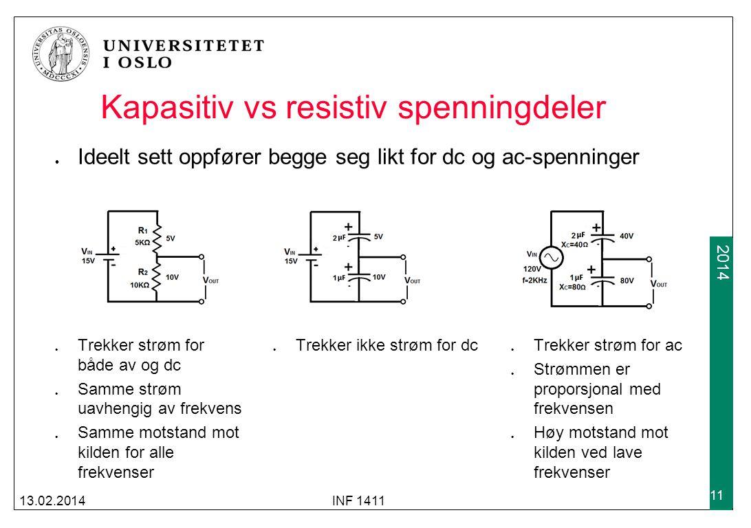 Kapasitiv vs resistiv spenningdeler