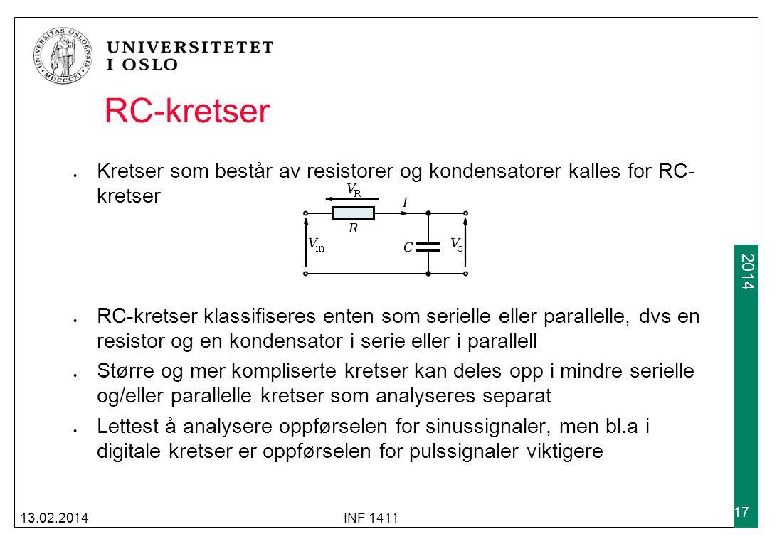 RC-kretser Kretser som består av resistorer og kondensatorer kalles for RC-kretser.