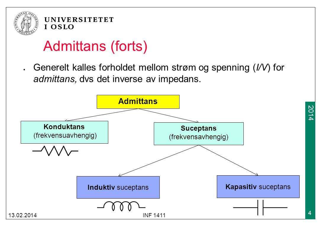Admittans (forts) Generelt kalles forholdet mellom strøm og spenning (I/V) for admittans, dvs det inverse av impedans.