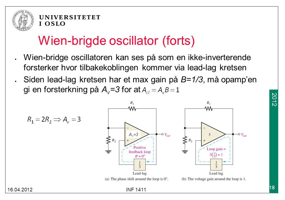 Wien-brigde oscillator (forts)