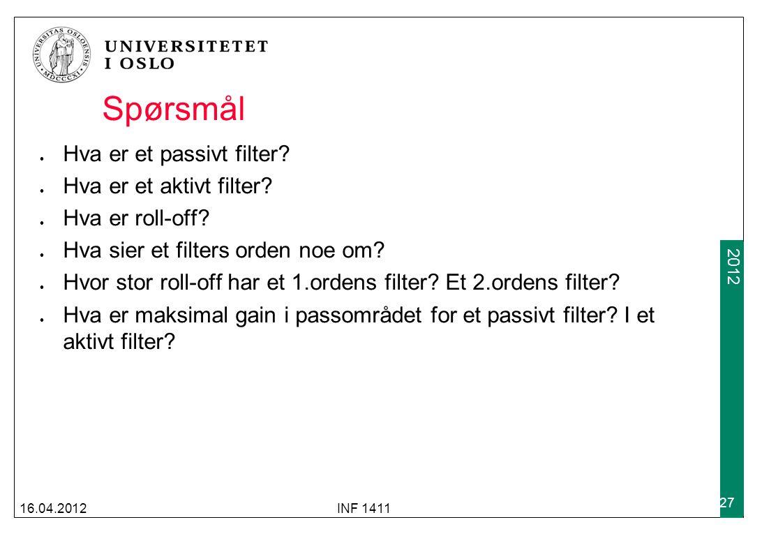 Spørsmål Hva er et passivt filter Hva er et aktivt filter