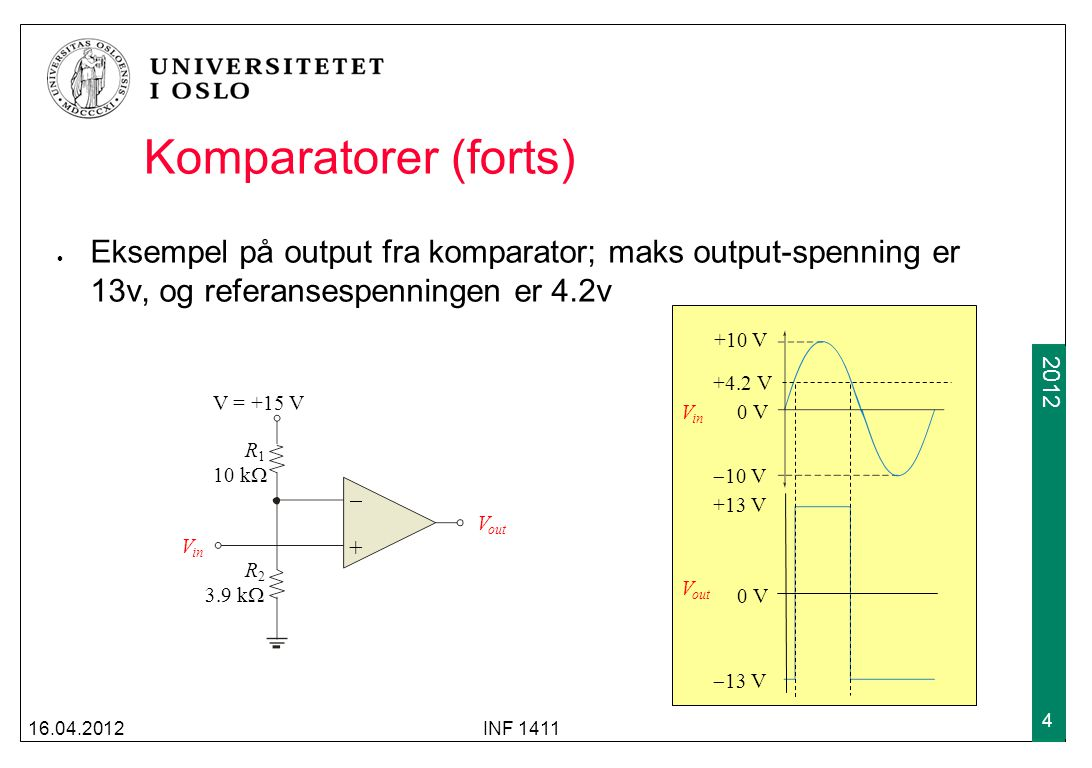 Komparatorer (forts) Eksempel på output fra komparator; maks output-spenning er 13v, og referansespenningen er 4.2v.